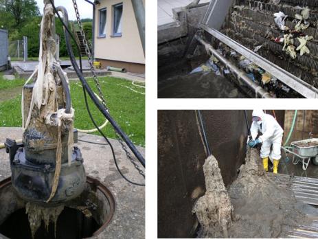 Durch synthetische Feuchttücher verursachte technische Probleme in Abwasseranlagen (c) Gemeinschaft Steirischer Abwasserentsorger
