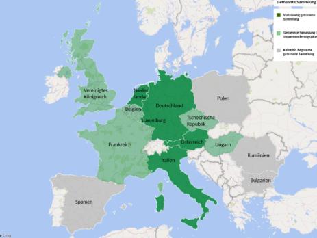 Karte von Europa mit den im Projekt TurnerMarket untersuchten Staaten und dem Stand der getrennten Sammlung dort (c) Andreas Schaffernak