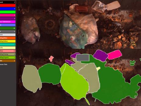 Bildkombination Bildschirmdarstellung für das flächige Kennzeichnen von Materialien auf einem Foto (c) Montanuniversität Leoben